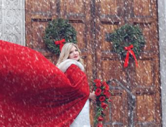 Justine VanAlstine outside of Fountain Street Church, where she married her husband, Gary.