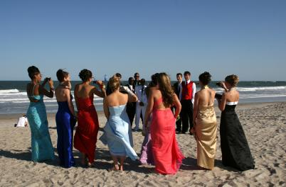 Wedding party on beach