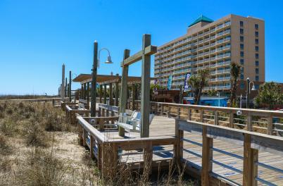 boardwalk in front of Courtyard Marriott in Carolina Beach