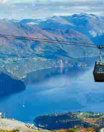 The gondola lift and the pavilion at Mount Strandafjellet in Fjord Norway