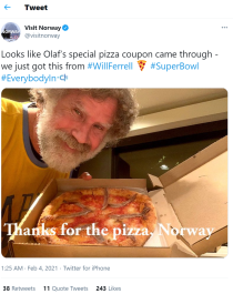 Will Ferrell's pizza tweet on Visit Norway Twitter