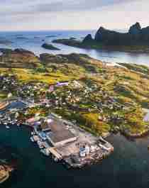 Go island hopping on the Helgeland coast. Aerial photograph of Træna in Helgeland, Northern Norway
