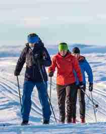Langlaufers in Valdres, Oost-Noorwegen