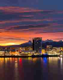 Bodø skyline in the midnight sun, Northern Norway