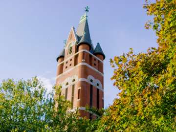 Historic Bell Tower through the trees