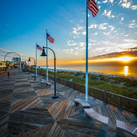 Boardwalk Sunrise with Flags