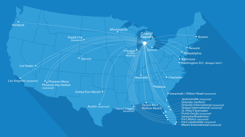 Flight map of direct destinations from Grand Rapids.