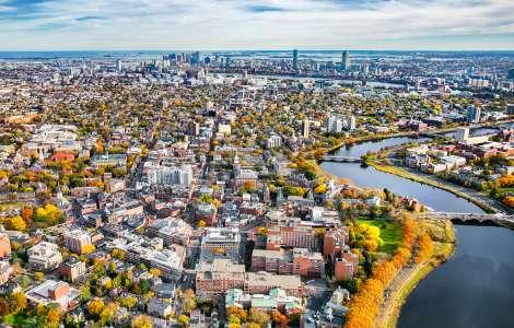 Boston Aerial from Harvard Square