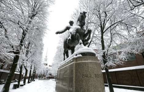 Revere Statue in Snow