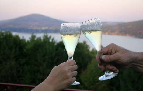 Wine with a view of Canandaigua Lake