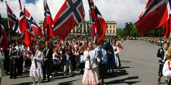 The children's parade in front of the Royal Castle on Norway's national day the 17 May