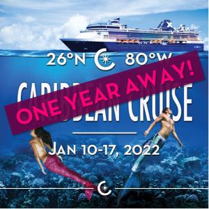Vacaya Caribbean Cruise 2022 flyer features pink-tailed mermaids with text announcing that the event is one year away.