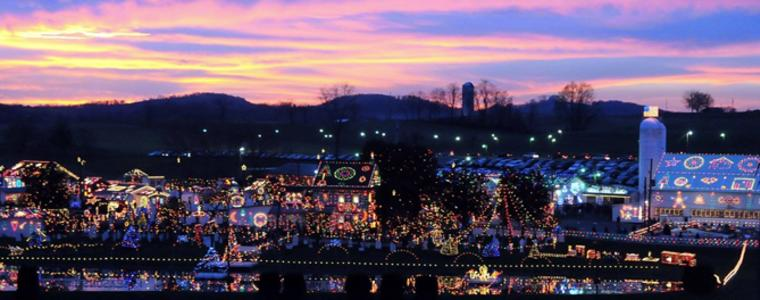 koziars christmas village is always merry and bright even when the weather is not