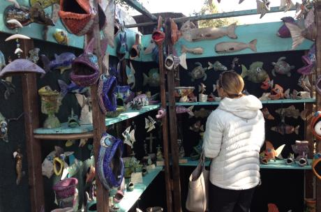 Shopping for pottery - Three Rivers Art Festival