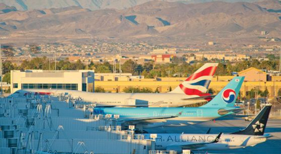 Planes parked at Las Vegas Airport