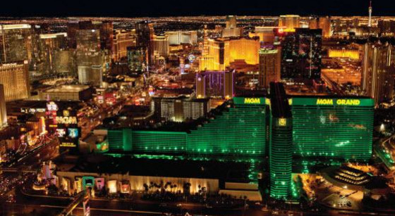 Aerial via of Las Vegas at night