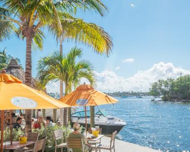 people dining along the Intracoastal Waterway under bright yellow umbrellas and palm trees on a beautiful, sunny day.