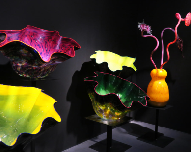 A display of colorful glass art pieces
