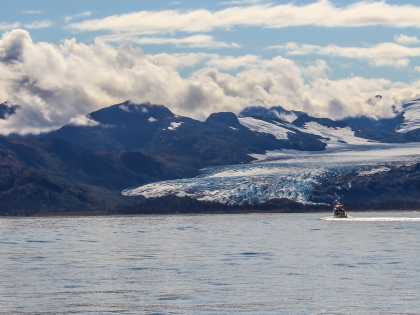 Prince William Sound Glaciers with boat in foreground