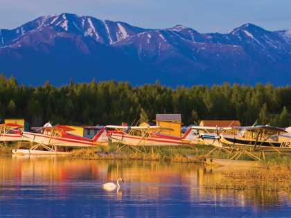 Float planes on Six Mile lake