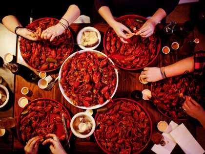 Group Eating Crawfish