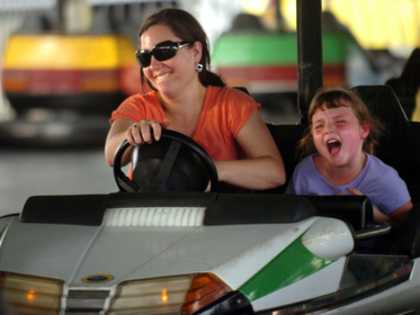 Heartland State Fair mom and daughter in bumper car