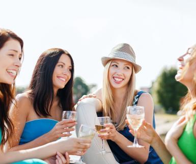 Girls drinking wine