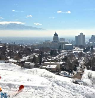 Skiing in the Foothills Above Downtown Salt Lake