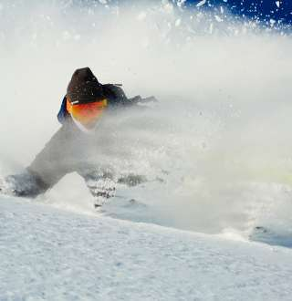 Skier in Powder at Brighton