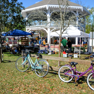 Bikes on front of the Abita Springs Pavilion