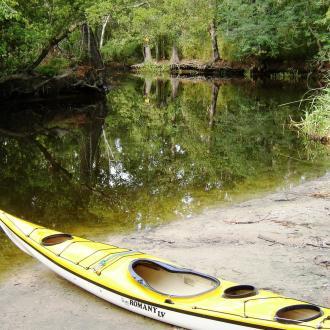 Kayak at bayou boat launch