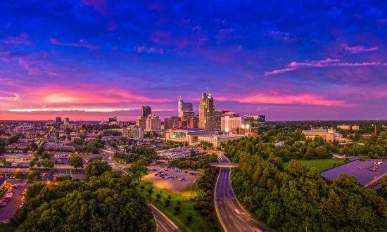 Raleigh-NC-Skyline-at-Sunset