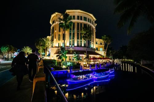 Lights illuminate the Riverfront Gondolas in Fort Lauderdale.