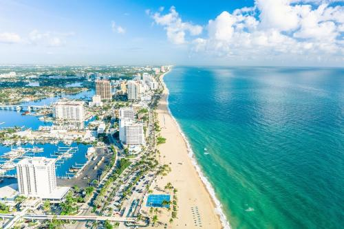 Aerial view of Fort Lauderdale Beach showing the miles of perfect white sand beaches.