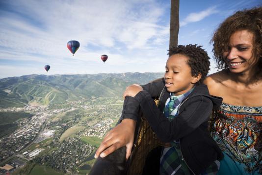 Family Enjoying a Hot Air Balloon Ride