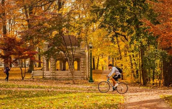 Fall Biker on Campus