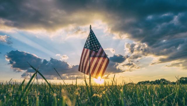 American flag in a field