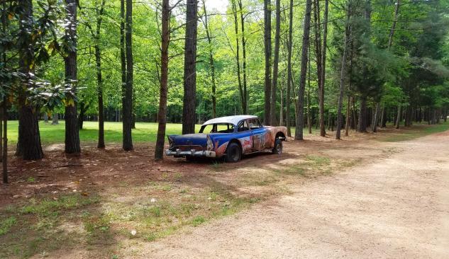 Car on Occonneechee Speedway Trail in Hillsborough