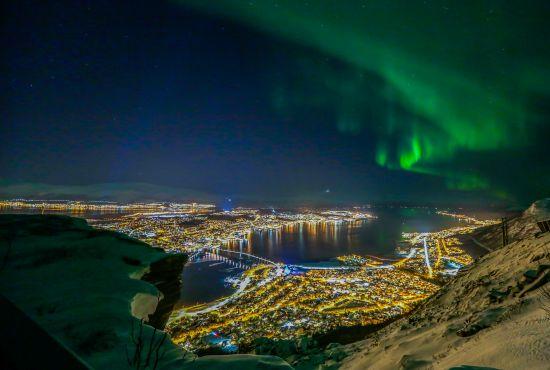 Northern lights over Tromsø in Northern Norway