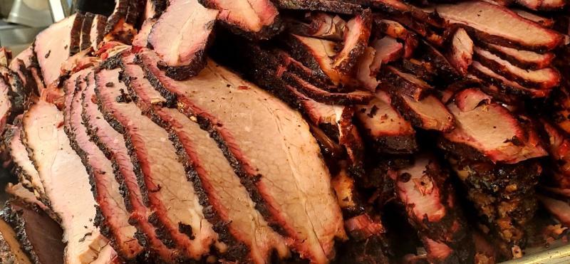 Brisket stacked form Bite Me Barbecue