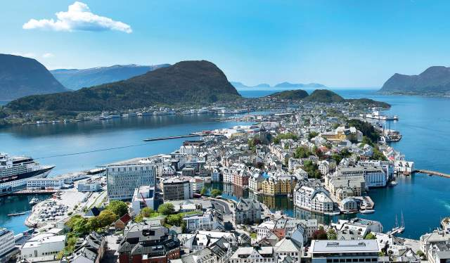 The city Ålesund, Fjord Norway, seen from viewpoint Aksla