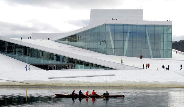 People rowing in front of the Oslo Opera House, Eastern Norway