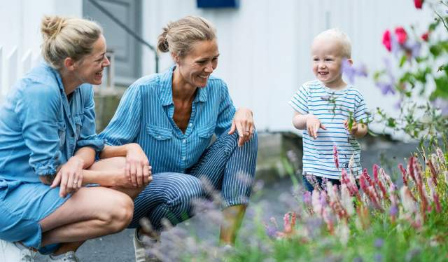 Southern Family looking at flowers