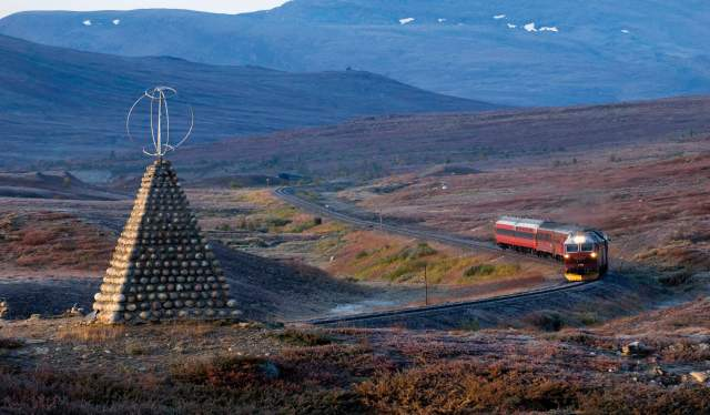 Train riding through the Saltfjellet landscape, Northern Norway