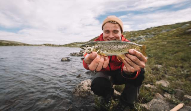 Man holding freshly fished Salmon in Norway's Hardangervidda's National Park