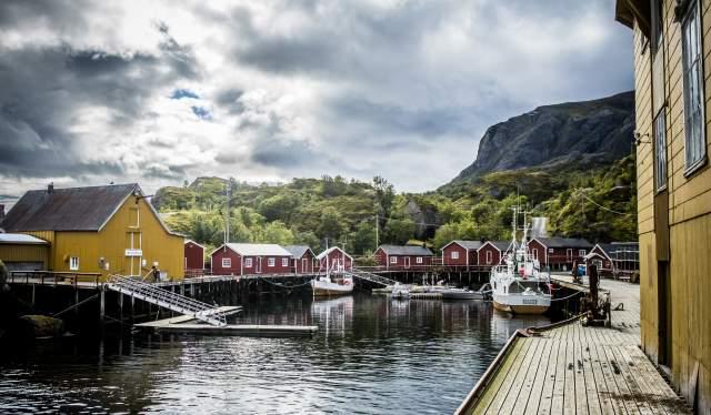 Det koselige fiskeværet Nusfjord i Lofoten