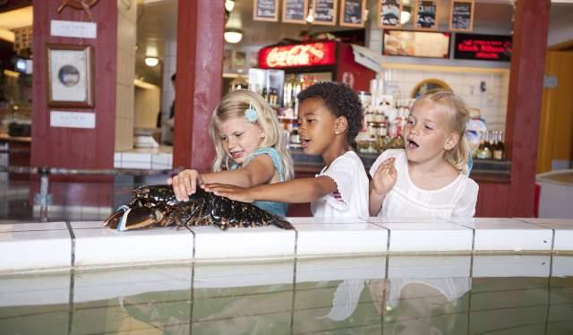Girls holding lobster at Fiskebrygga, Kristiansand
