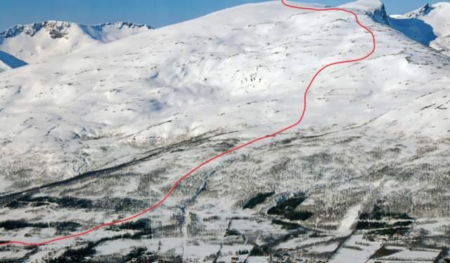 Piste map of Lille Blåmannen, Tromsø, Northern Norway