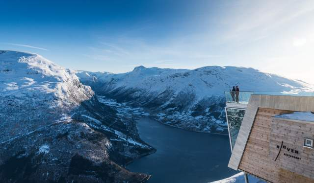 To people at the Loen Skylift enjoying the view of the Nordfjord in Norway
