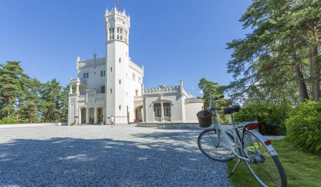 A bicycle in front of the summer house castle Oscarshall in Oslo, Eastern Norway